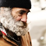 Homeless Older Man Smiling.