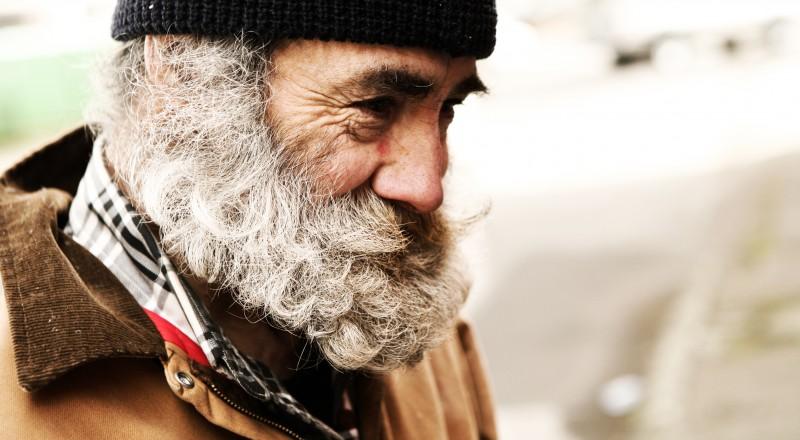 Homeless Older Man Smiling.